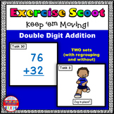Double Digit Addition Math Task Cards Exercise Scoot