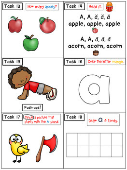 Alphabet Task Cards - Exercise Scoot! Letter A {Emergent Reader Included!}