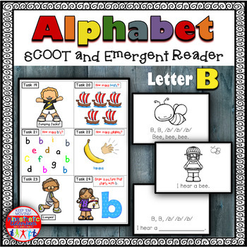 Alphabet Task Cards - Exercise Scoot! Letter B {Emergent Reader Included!}