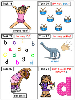 Alphabet Task Cards - Exercise Scoot! Letter D {Emergent Reader Included!}