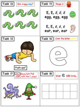 Alphabet Task Cards - Exercise Scoot! Letter E {Emergent Reader Included!}