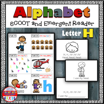 Alphabet Task Cards - Exercise Scoot! Letter H {Emergent Reader Included!}
