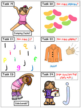 Alphabet Task Cards - Exercise Scoot! Letter J {Emergent Reader Included!}