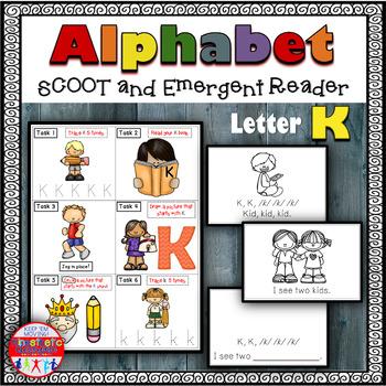 Alphabet Task Cards - Exercise Scoot! Letter K {Emergent Reader Included!}