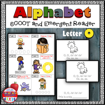 Alphabet Task Cards - Exercise Scoot! Letter O {Emergent Reader Included!}