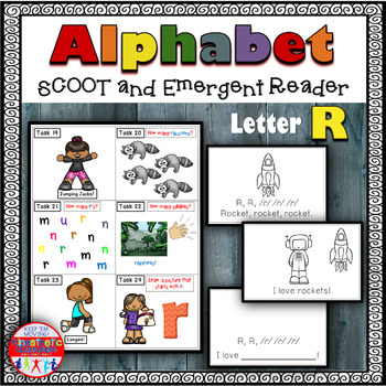 Alphabet Task Cards - Exercise Scoot! Letter R {Emergent R