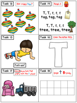 Alphabet Task Cards - Exercise Scoot! Letter T {Emergent Reader Included!}