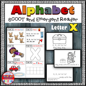 Alphabet Task Cards - Exercise Scoot! Letter X {Emergent Reader Included!}
