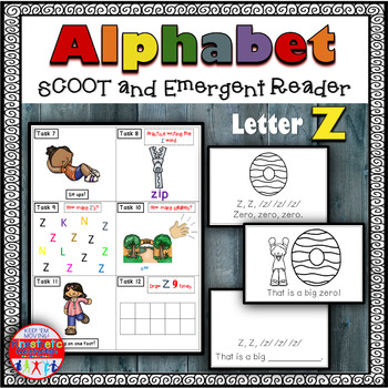 Alphabet Task Cards - Exercise Scoot! Letter Z {Emergent Reader Included!}