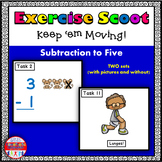 Subtraction to 5: Math Task Cards - Exercise Scoot!
