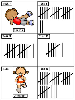 Tally Marks to 30: Math Task Cards - Exercise Scoot!