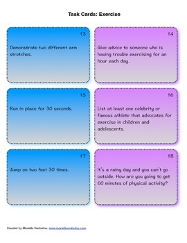 Exercise Task Cards