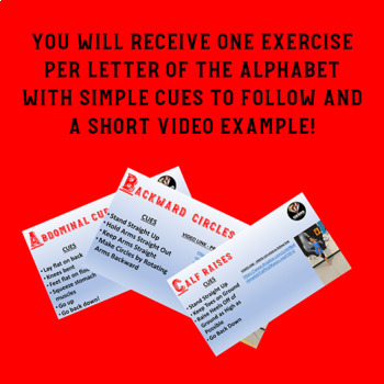 Exercise Through the Alphabet!  Rainy Day Recess Activity