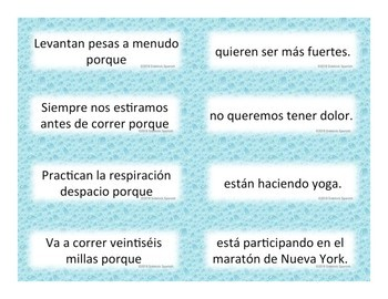 Exercise and Injuries Spanish Vocabulary Sentence Building: Because