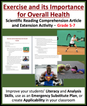 Exercise and its Importance for Health - Science Reading Article - Grades 5-7