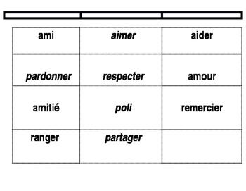 Exercise d'alphabet / vocabulaires d'amitiés