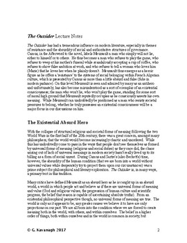 Existential Lecture Notes on Camus' The Outsider (The Stranger)