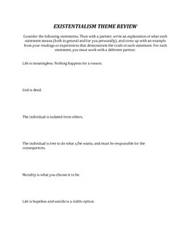 Existentialism Theme Review