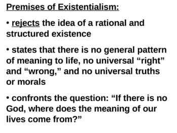 Existentialism and the Absurd Powerpoint - Camus The Stranger