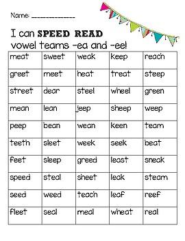 Speed Read Vowel Teams ea and ee