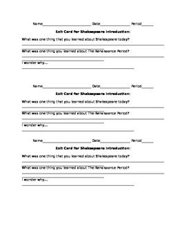 FREE Exit Card for a Shakespeare Introduction