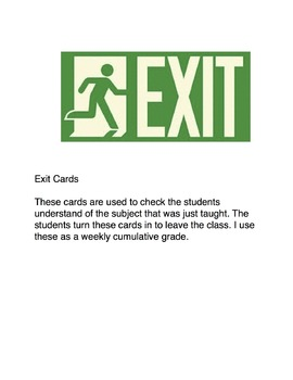 Exit Cards Solid Liquid Gas
