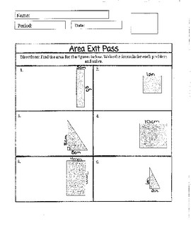 Exit Pass Area of Square, Rectangle, and Triangle