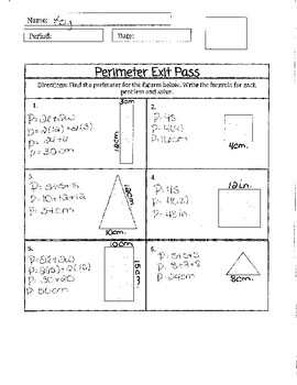 Exit Pass Perimeter of Square, Rectangle, and Triangle