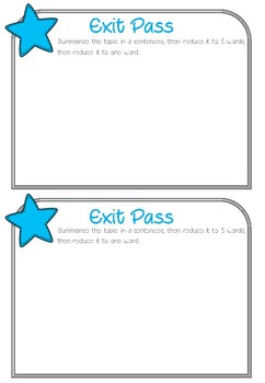 Exit Pass - Plenary Activity - Learning Reflection
