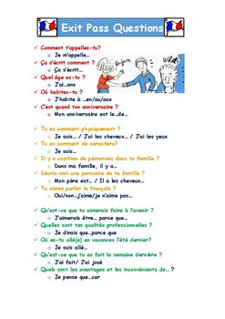 Exit Pass Questions in French and Spanish