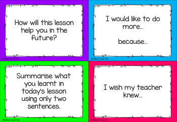 Exit Pass Question Cards