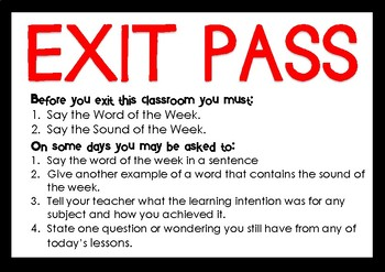Exit Pass - Word and Sound of the Week