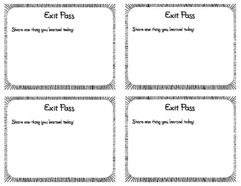 Exit Passes for Assessing Student Learning