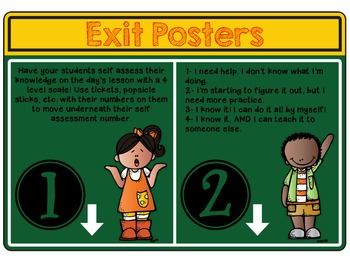 Exit Posters for Student Self Assessment!