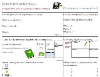 Exit Slip Activities for Guided Reading