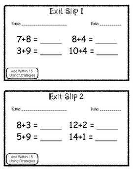 Exit Slip Add Within 15 Using Strategies