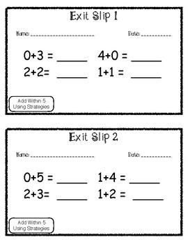 Exit Slip Add Within 5 Using Strategies