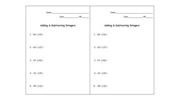 Exit Slip: Adding and Subtracting Integers Quiz