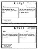 Exit Slip Addition Number Stories Facts Within 10