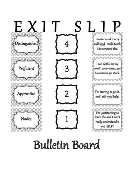 Exit Slip Bulletin Board Black and White