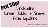 Exit Slip: Constructing Linear Tables and Graphs from Equations Quiz