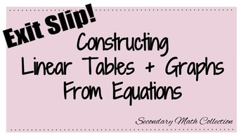 Exit Slip: Constructing Linear Tables and Graphs from Equations
