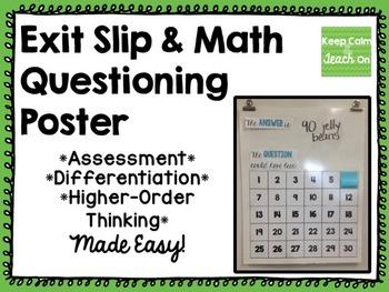 Exit Slip & Math Questioning Poster Set