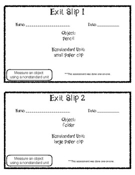 Exit Slip Measuring Nonstandard Units