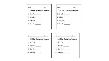 Exit Slip: Multiplying Integers Quiz