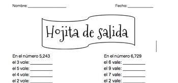 Exit Slip Place Value, Spanish