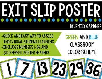 Exit Slip Poster-Green and Blue