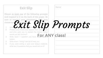 Exit Slip Prompts - For Any Class!