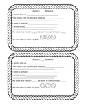 Exit Slip Reflection sheet