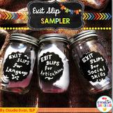 Exit Slip Sampler for Articulation, Language and Social Skills